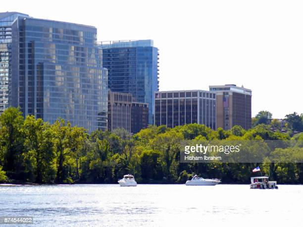 The Skyline of Rosslyn in Arlington County and the Potomac River, Virginia, USA.