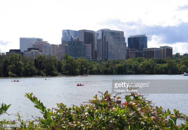 the skyline of rosslyn in arlington county and the potomac river, virginia, usa. - arlington virginia stock pictures, royalty-free photos & images