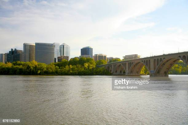 the skyline of rosslyn in arlington county, key bridge and the potomac river before sunset, virginia, usa - arlington virginia stock pictures, royalty-free photos & images