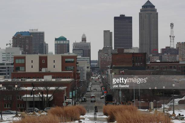 The skyline of the Capitol city is seen as people prepare to head to their caucuses on February 03, 2020 in Des Moines, Iowa. Iowa holds its first in...