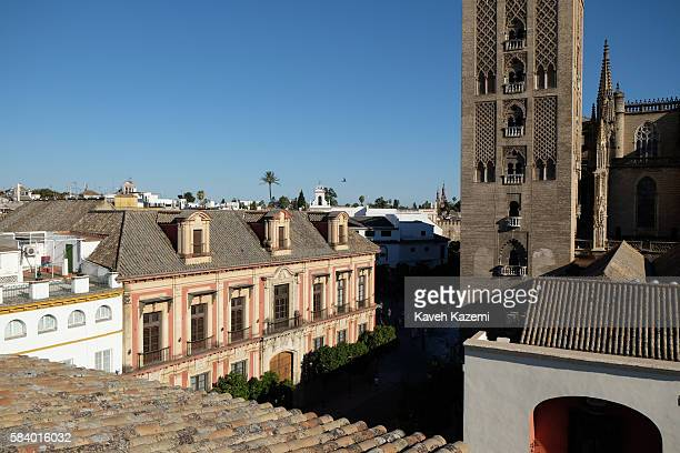 The skyline with typical city architecture seen alongside the Cathedral's tower on June 25 2016 in Seville Spain