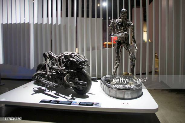 The Skynet MotoTerminator from Terminator Salvation is seen during the opening of the new exhibit Hollywood Dream Machines Vehicles Of Science...