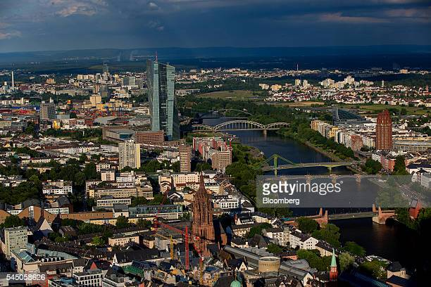 The skyscraper headquarter offices of the European Central Bank stand on the River Main in Frankfurt Germany on Sunday July 3 2016 The British seat...