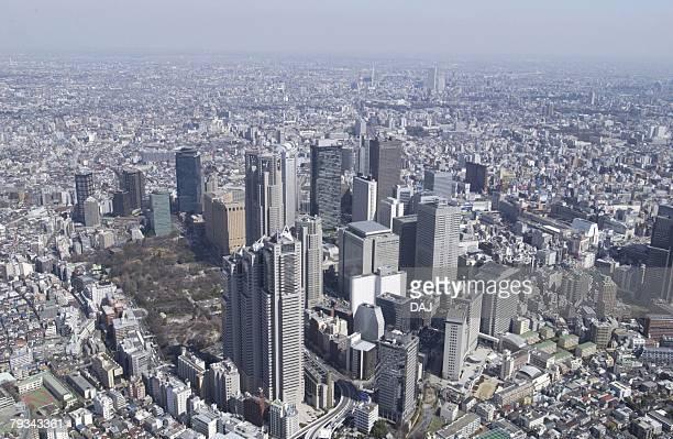 the skyscrapers of nishishinjuku, aerial view, pan focus - nishi shinjuku stock-fotos und bilder