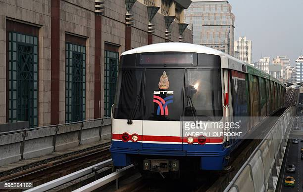 The Skytrain, part of the BTS approaches the Chit Lom station near The Grand Hyatt Erawan Hotel.