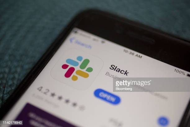 The Slack Technologies Inc. Application is displayed in the App Store on an Apple Inc. IPhone in an arranged photograph taken in Arlington, Virginia,...