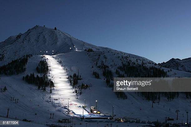The slalom course in Sestriere venue for the 2006 Winter Olympics on December 13 2004 in Sestriere Italy