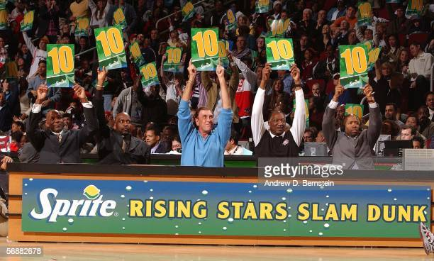 The Slam dunk judges hold up all scores of 10 during the Sprite Rising Stars Slam Dunk Contest on AllStar Saturday Night during 2006 AllStar Weekend...