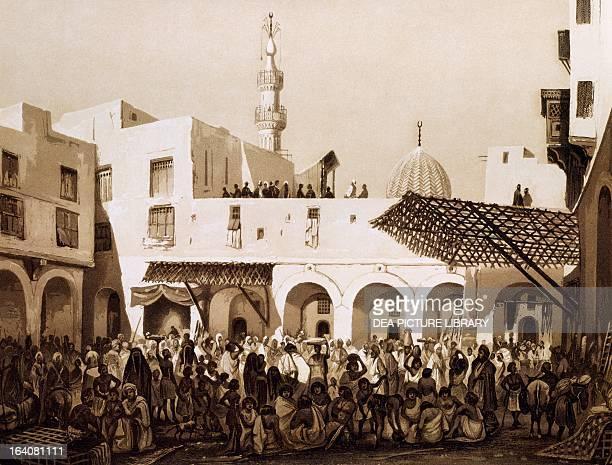 The slave market in Alexandria engraving taken from Panorama d'Egypte et de Nubia Hector Horeau Paris 1841