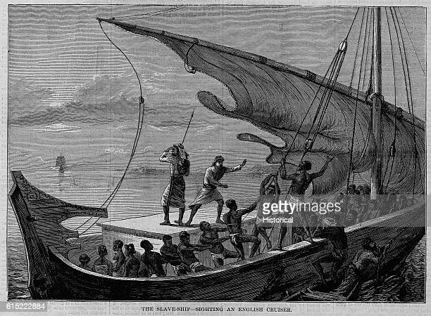 The Slave Ship Sighting an English Cruiser Magazine Illustration Published in Harper's Weekly