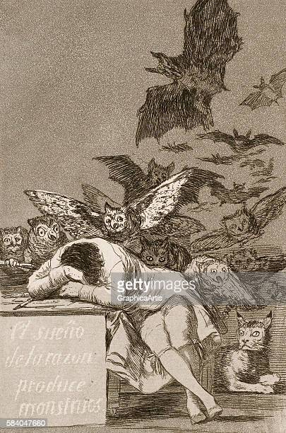 The Sleep of Reason Produces Monsters No 43 from the 'Los Caprichos' series 1799 Los Caprichos is a series of 80 etchings Goya used to condemn and...