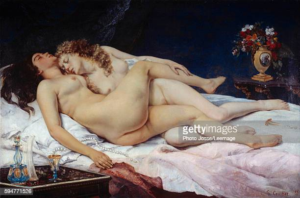 The Sleepers also known as the Sleep Two naked women entwined in a bed Painting by Gustave Courbet 1866 135 x 200 m Petit Palais Museum Paris France