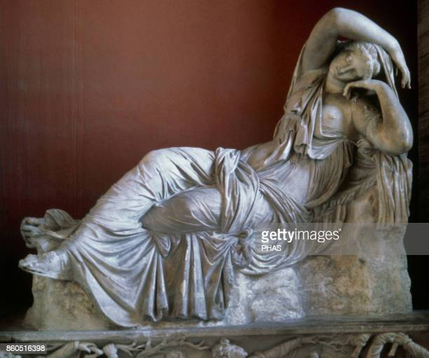 The sleeping Ariadne long called Cleopatra Roman Hadrianic copy of a Hellenistic sculpture of the Pergamene school of the 2nd century BC acquired by...