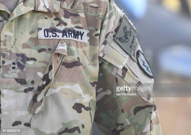 The sleeve insignia and uniform of an American soldier is seen at the Williamson airfied in the Shoalwater Bay Training Area as part of Battle Group...