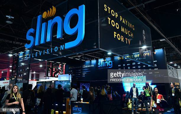 The SLING TV display booth at the 2017 Consumer Electronic Show in Las Vegas Nevada on January 7 2017 Offering a challenge to and an alternative from...