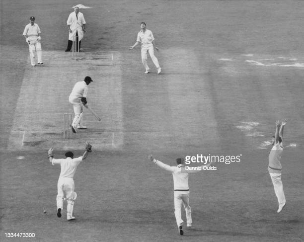The slip fielders appeal as batsman Ted Dexter of England is dropped by wicketkeeper Wally Grout of Australia off the bowling of Neil Hawke on the...