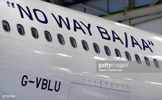 The slogan 'No Way BA/AA' decorates the side of a Virgin Atlantic planes asVirgin Atlantic President Sir Richard Branson speaks out against the...