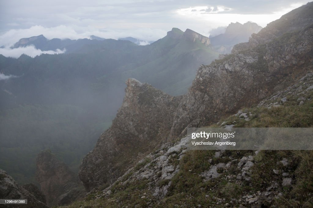 The slopes of Asbestnaya Mount in fog and clouds, Adygea, Caucasus Mountains : Stock Photo