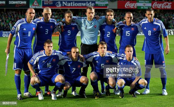 The Slovakian team line up before kick off during the FIFA 2010 World Cup Qualifier between Northern Ireland and Slovakia at Windsor Park on...
