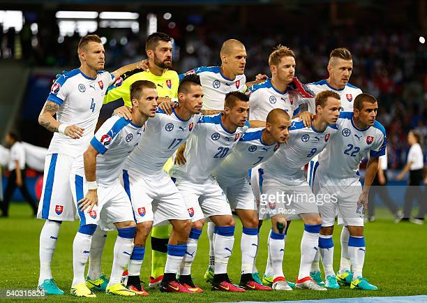 The Slovakian team lines up during the UEFA EURO 2016 Group B match between Russia and Slovakia at Stade PierreMauroy on June 15 2016 in Lille France