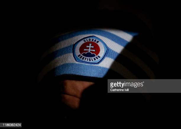 The Slovan Bratislava club badge on a hat prior to the UEFA Europa League group K match between Wolverhampton Wanderers and Slovan Bratislava at...