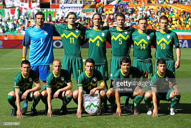 The Slovenia team line up ahead of the 2010 FIFA World Cup South Africa Group C match between Algeria and Slovenia at the Peter Mokaba Stadium on...