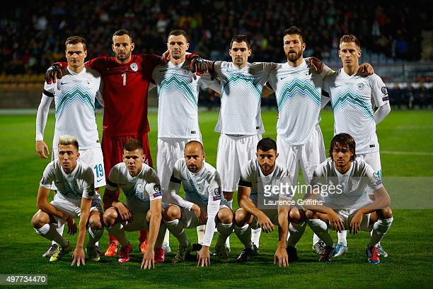 The Slovenia Team line up prior to the UEFA EURO 2016 qualifier playoff second leg match between Slovenia and Ukraine at Ljudski Vrt Stadium on...