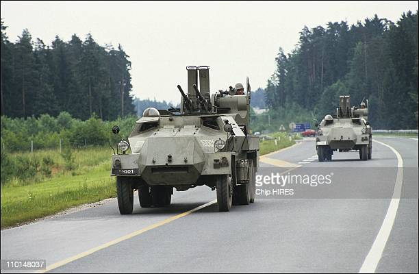 The Slovenian guard and Yugoslav tanks in Ljubljana Yugoslavia on June 27 1991 Yugoslavian army near Ljubljana airport