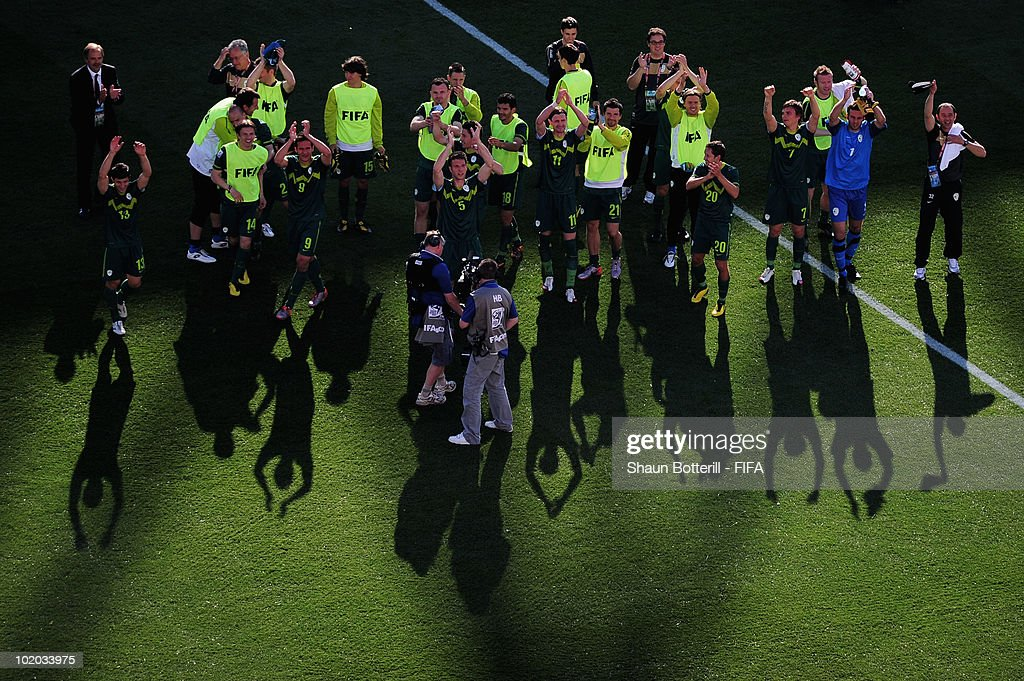 The Slovenian team celebrates their victory in the 2010 FIFA World Cup South Africa Group C match between Algeria and Slovenia at the Peter Mokaba Stadium on June 13, 2010 in Polokwane, South Africa.