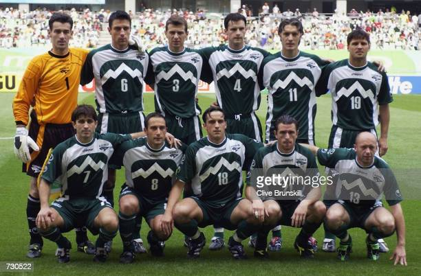 The Slovenian team pose for the team photo before the Group B match against South Africa of the World Cup Group Stage played at the Daegu World Cup...