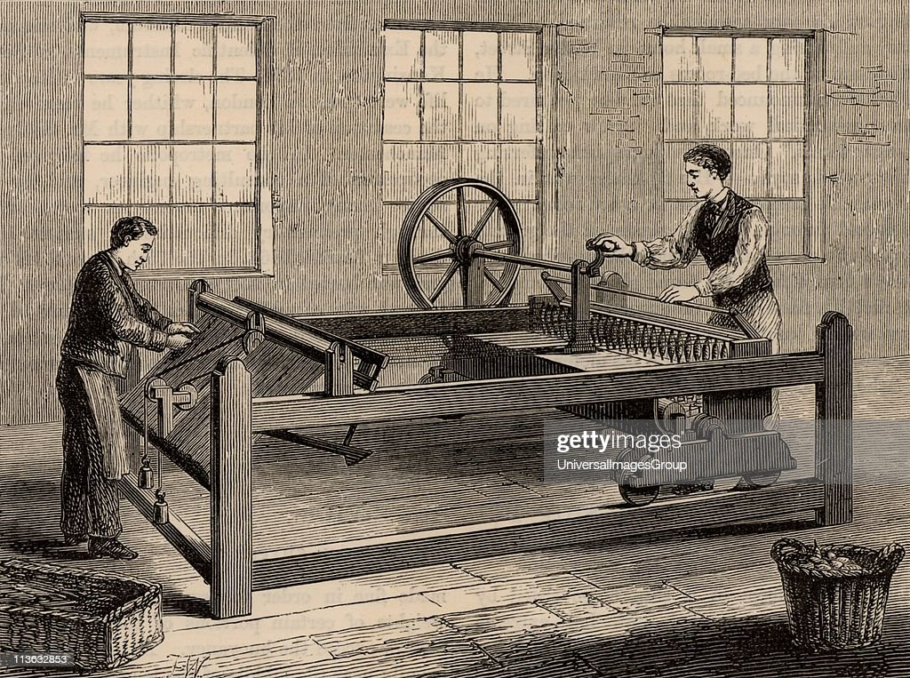 The slubbing-billy, inventor uncertain, which came into use in about 1786. Used to spin carded wool into rovings. From Great Industries of Great Britain (London, c1880). Engraving. : News Photo