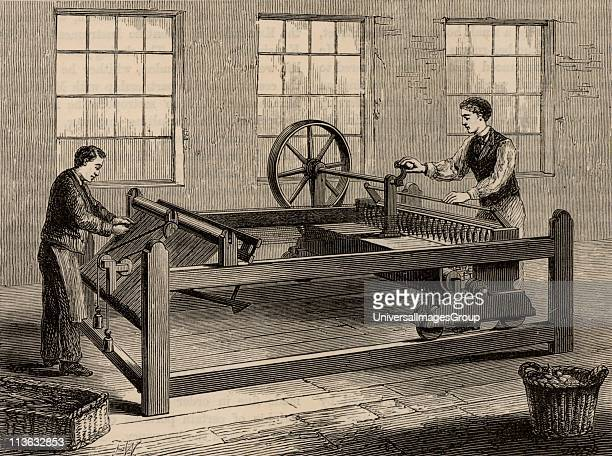 The slubbing-billy, inventor uncertain, which came into use in about 1786. Used to spin carded wool into rovings. From Great Industries of Great...