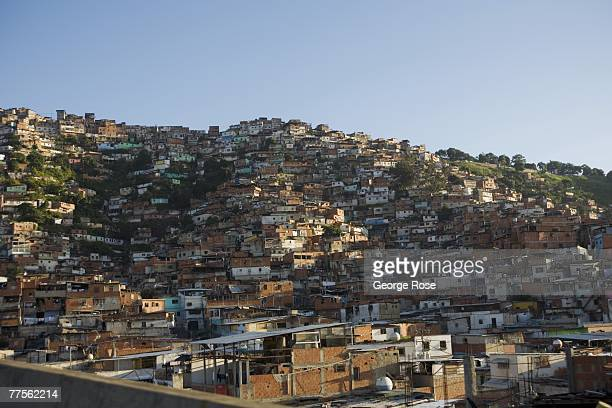 """The slums or """"ranchos"""" along the highway to the airport are clustered on hillsides in this 2007 Caracas, Venezuela, South America, urban landscape..."""