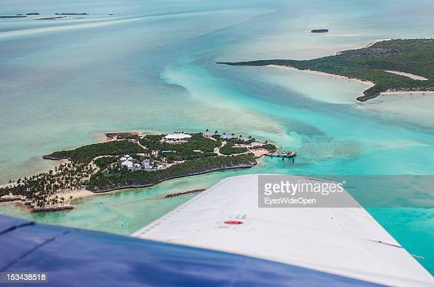 The small atolls lagoon islands and islands of the Exumas seen from an airplane on June 15 2012 in The Bahamas