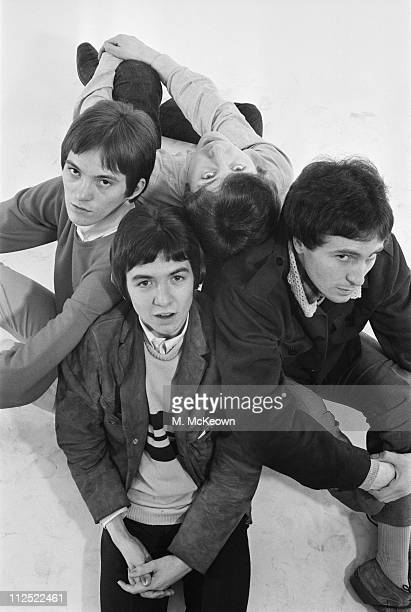 The Small Faces at the Daily Express studio, 4th November 1965. From left to right, they are Steve Marriott, Ronnie Lane, Kenney Jones and Ian...