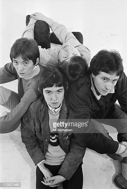 The Small Faces at the Daily Express studio, 4th November 1965. From left to right, they are Steve Marriott, Ronnie Lane, Kenney Jones and Jimmy...