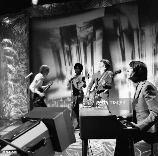 The Small Faces pop group at the BBC Television studios at Lime Grove including Ian McLagan who was married earlier in the day, 30th January 1967.
