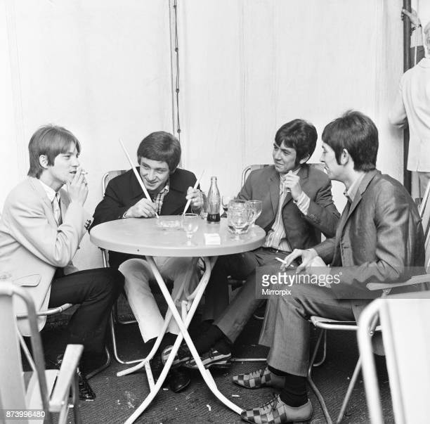 The Small Faces relax back stage at the 6th National Jazz and Blues Festival at Windsor Race course, 29th July 1966.