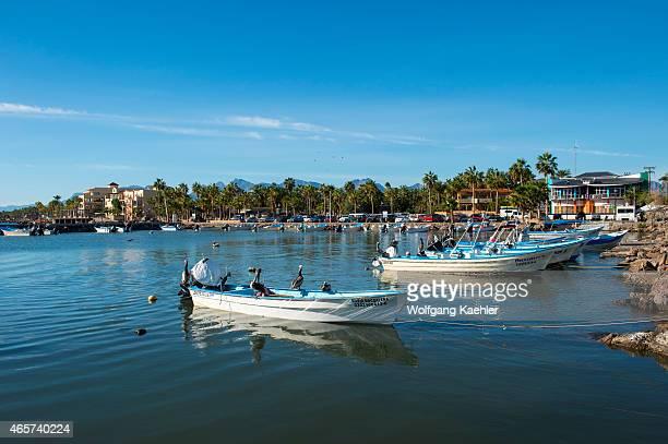 The small harbor of the town of Loreto Sea of Cortez Baja California Mexico