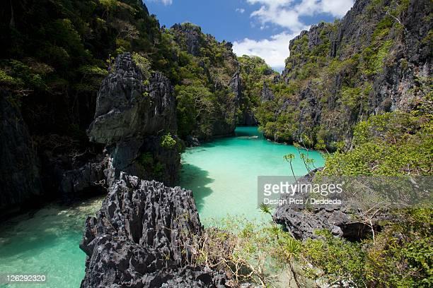 the small lagoon on miniloc island, near el nido - laguna fotografías e imágenes de stock