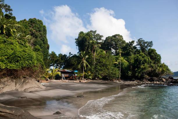 The small Playa Blanca beach and local restaurant at Isla de Salomón on October 3, 2012 in Utria National Park, Colombia. The Utria National Park...