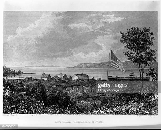 The small settlement of Astoria Oregon in the 1840s shortly after it was returned to US control from the British in an engraving appearing in Charles...