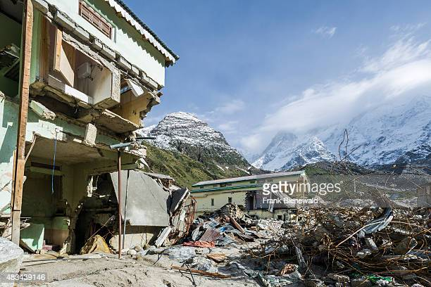 KEDARNATH UTTARAKHAND INDIA The small town around Kedarnath Temple got totally destroyed by the 2013 flood only ruins are left