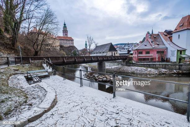 the small town covered by icing sugar, český krumlov, czech republic - vsojoy stock pictures, royalty-free photos & images