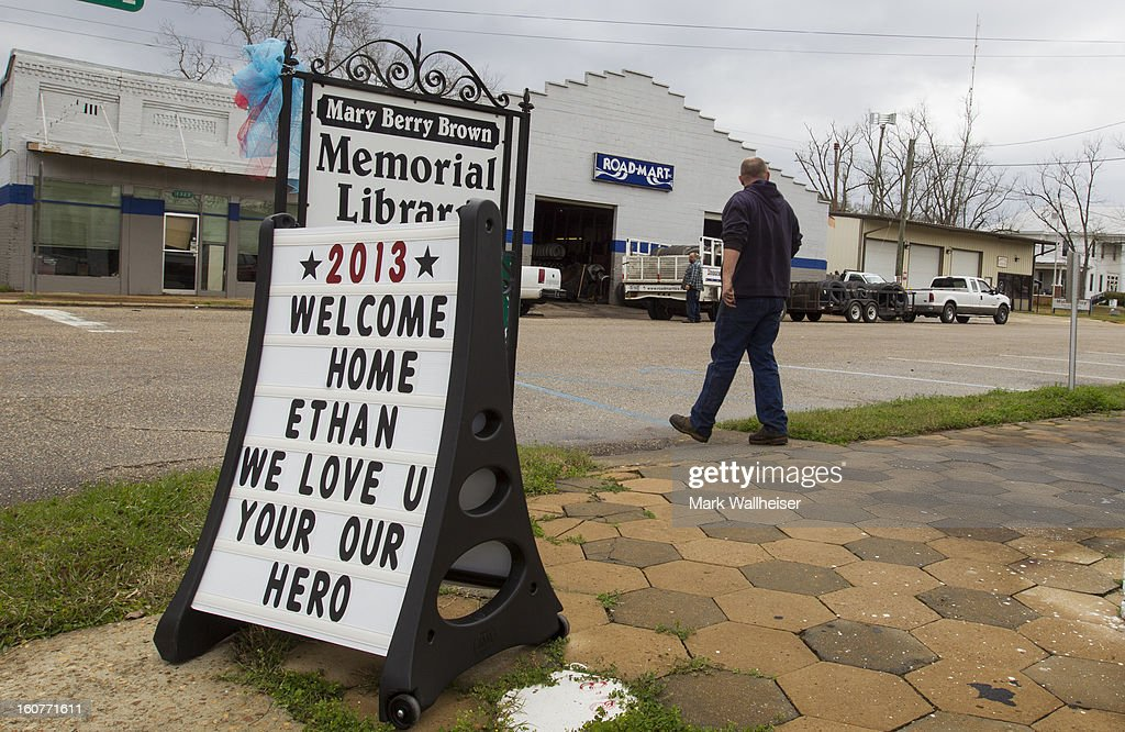 The small town of Midland City put out the signs supporting the 5 year old boy named Ethan that was abducted from a school bus and held hostage for 6 days in this southwest Alabama town just north of Dothan February 5, 2013 in Midland City, Alabama. Nathan was rescued when the FBI stormed the bunker killing suspect, Jimmy Lee Dykes.