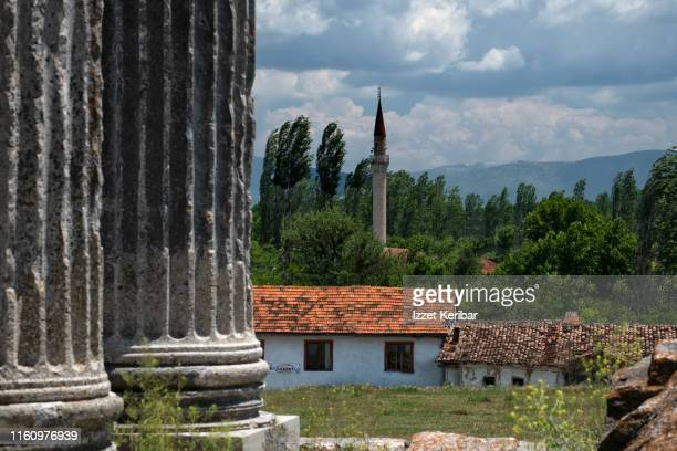 the small village of cavdarhisar near the zeus temple, aezano kütahya, turkey - greek god stock pictures, royalty-free photos & images