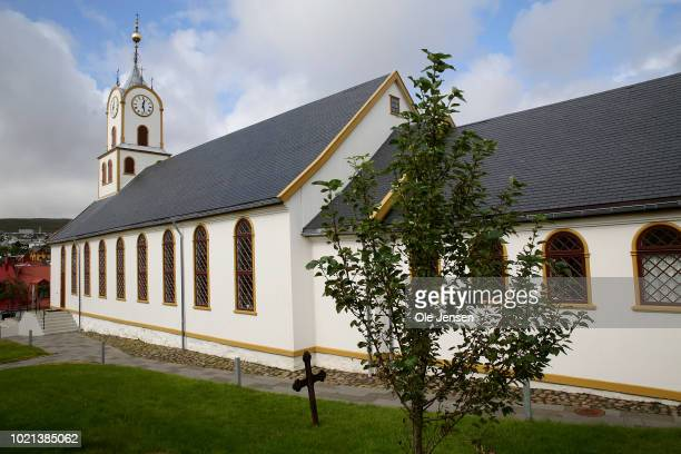 The small wooden cathedral on August 22 2018 in Torshavn Denmark The Faroe Islands situated between Scotland and Iceland is part of Denmark and...