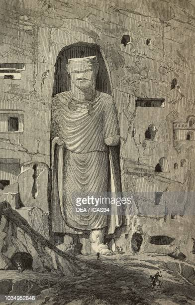 The smallest of the two Buddhas of Bamiyan Afghanistan engraving from a drawing by William Simpson and a sketch by P J Maitland from The Illustrated...