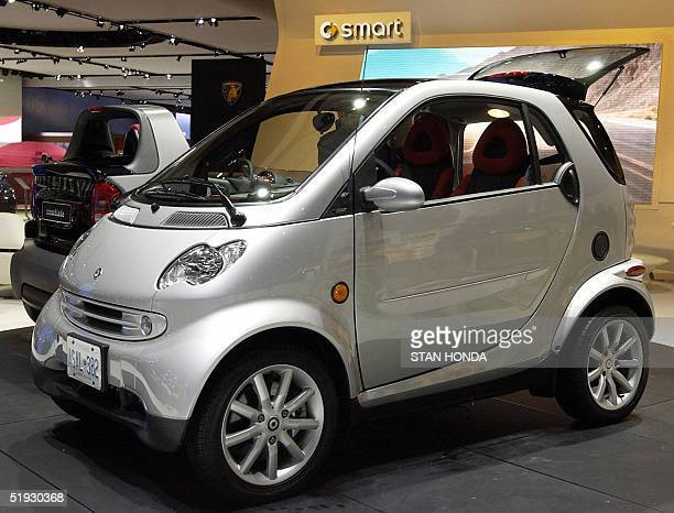 The Smart car model Fortwo made by MercedesBenz is pictured 09 January 2005 during the North American International Auto Show at Cobo Hall in Detroit...