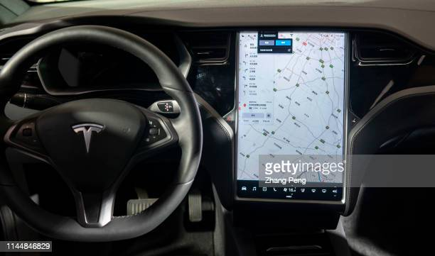 The smart driving system of Tesla shown on the WIC The 3rd World Intelligence Congress one of the most important hitech exhibition in China showing...
